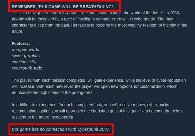 Xuất hiện tựa game nhái Cyberpunk 2077, bị phát hiện nhanh chóng đổi tên thành Cyberprank 2069 - Ảnh 2.