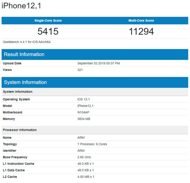 Lộ cấu hình và điểm hiệu năng của iPhone 11: CPU mới, RAM chỉ có 4GB - Ảnh 2.