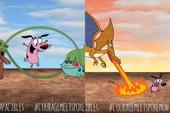Loạt ảnh hài hước khi chú chó Courage gặp gỡ Pokémon, trông chẳng khác gì phim kinh dị