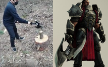 Fan cuồng tự chế chiếc rìu của Đại tướng Darius, trông thì đẹp đấy có điều... bổ củi cũng chẳng xong