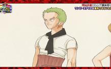 Các fan One Piece thi nhau chê bai tạo hình ban đầu của Zoro, cổ quàng khăn bụng quấn vải màu hường