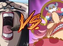 """Review One Piece tập 944: Queen """"tấu hài'' đụng độ Big Mom đang """"mất trí nhớ"""", đánh nhau chỉ vì đồ ăn"""