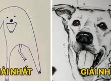 """Bức tranh """"cún ngáo"""" bất ngờ đánh bại mọi đối thủ nặng kí, giật giải quán quân trong cuộc thi vẽ chó"""