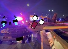 Cô gái đang thong thả lượn phố thì bị máy bay từ trên trời lao xuống đâm trúng