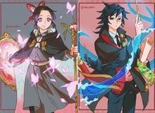 Lạ lẫm khi thấy dàn Kiếm sĩ diệt quỷ trong Kimetsu no Yaiba hóa phù thủy phép thuật đầy mình