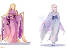 """Công chúa Disney diện kimono truyền thống Nhật Bản, nhan sắc """"muôn phần đẹp hơn"""""""