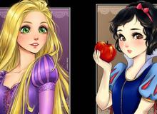 Ngẩn ngơ khi ngắm các nàng công chúa Disney được vẽ theo phong cách anime, đã đẹp nay còn đẹp hơn