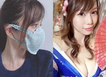 Người mẫu ngực khủng Nhật Bản tự lấy áo lót làm khẩu trang tự chế