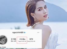 Ngọc Trinh trở thành nghệ sĩ thứ 3 của Vbiz cán mốc 4 triệu follower Instagram, hứa tặng quà đặc biệt cho fan ăn mừng