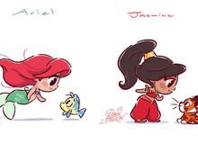 Ngắm loạt fan art dễ thương về các nàng công chúa Disney và dàn pet siêu cưng mà mê