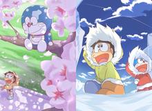 """Loạt tranh Doraemon cùng bạn hữu """"cute hột me"""" dành cho fan cứng của mèo máy"""