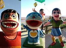 Loạt tượng Doraemon và đồng bọn khiến người xem bối rối vì biểu cảm đáng sợ