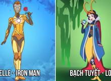 """Không còn """"bánh bèo"""" các công chúa Disney hô biến """"cực ngầu"""" khi biến thành các siêu anh hùng Marvel và DC"""