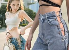 """4 mẫu quần jeans """"quái dị"""" của Ngọc Trinh: Cái rách toang hoác, cái vá chằng chịt, 1 trong số đó bị chê tơi tả"""