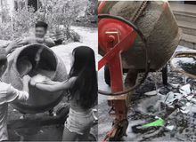 """""""Sáng tạo"""" ra phương pháp rửa bát đũa bằng máy trộn bê tông và máy giặt, Youtuber nhận mưa gạch đá từ phía cộng đồng mạng"""