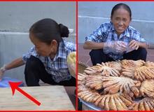 """Bà Tân Vlog dùng bàn tay đang nhào bột để kéo ghế ngồi, dân mạng lại than """"mất vệ sinh"""""""