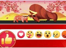 Bên cạnh nút Like đỏ, Facebook tiếp tục cập nhật thêm trâu vàng và cành đào để chào mừng Tết