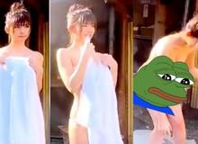 Tuột tay đánh rơi khăn tắm khi chụp ảnh, nàng hot girl khiến người xem chảy máu mũi rồi phải ngậm ngùi với cái kết