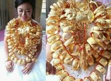 Dân mạng hoa mắt đếm vàng ròng trĩu nặng trên cổ con gái đại gia trong ngày làm hôn lễ