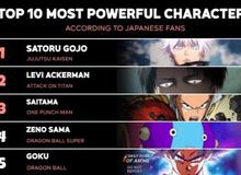 """Top 10 nhân vật được fan bình chọn là """"mạnh nhất"""" trong chính bộ truyện của họ"""
