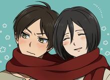 """Giữa lúc các fan đang tức """"sôi máu"""" với kết thúc ẩn của Attack On Titan thì tác giả lại đích thân vẽ cặp đôi Eren và Mikasa"""