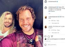 """""""Cặp đôi tấu hài"""" Thor và Star-Lord đăng ảnh """"tình tứ"""" trong phần hậu trường Thor Love and Thunder"""