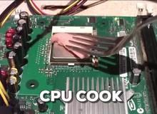 Hài hước anh chàng đem CPU ra... rán thịt