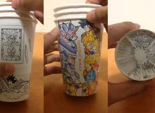 Xem hình động Dragon Ball trên cốc giấy cực kì sáng tạo