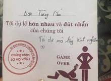 """Thiệp cưới bá đạo của cặp đôi Việt: chú rể tự nhận mình bị """"Game Over"""""""