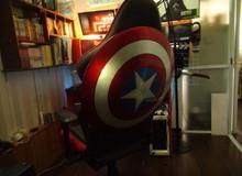 Mê siêu anh hùng, game thủ Việt này chế hẳn ghế gắn khiên Captain America đằng sau