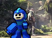 """Không chỉ có game mới ra mắt năm sau, Mega Man còn """"chui"""" vào cả Monster Hunter: World làm loạn khiến hàng vạn người thích thú"""