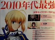 Top 30 nhân vật nữ của thập niên 2010 do tạp chí Newtype bầu chọn: Saber xuất sắc về nhất