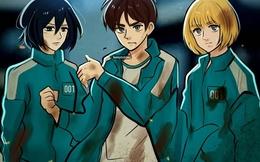 """Fan anime ngẩn người khi thấy dàn nhân vật Attack on Titan bị Squid Game """"nhập"""""""