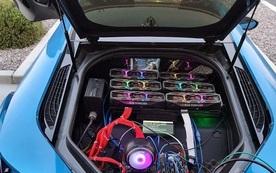 Thanh niên lắp 6 card RTX 3080 vào siêu xe BMW i8 để đào coin 'trêu ngươi game thủ'