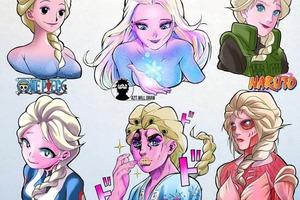 Nữ hoàng Elsa hóa mỹ nhân anime khi được vẽ lại theo phong cách của các mangaka nổi tiếng