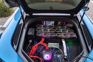 Thanh niên lắp 6 card RTX 3080 vào siêu xe BMW i8 để đào coin