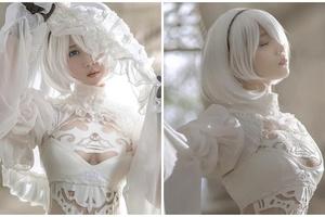 Cùng chiêm ngưỡng cô nàng cosplay 2B khoác lên mình bộ cánh trắng tinh khôi, thiên thần là đây chứ đâu