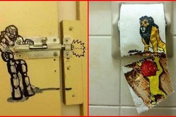 """Loạt """"tác phẩm nghệ thuật"""" cực ngẫu hứng trong nhà vệ sinh khiến dân mạng cười phá lên"""