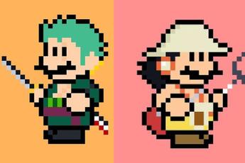 Ngỡ ngàng khi thấy loạt nhân vật One Piece và anime được vẽ lại theo phong cách pixel art