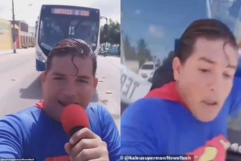 Ăn mặc như Superman rồi ra đường diễn trò, vlogger bị tông trúng khi đang cố chặn xe bus bằng tay