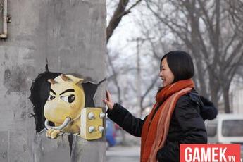 Ấn tượng với tranh 3D về game trên phố cổ Trung Quốc